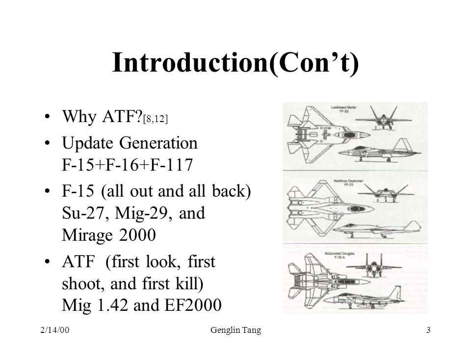 Introduction(Con't) Why ATF [8,12] Update Generation F-15+F-16+F-117